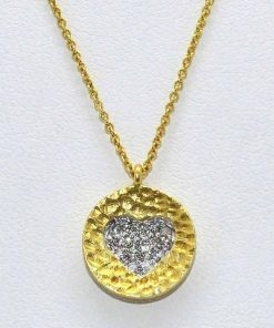 Diamond Heart on a Hammered Disc Pendant