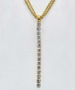 Diamond Pendant with Double Chain