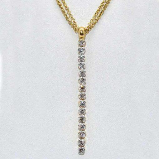 Diamond Pendant with Double Chain