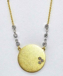 Matted Diamond Disc Pendant