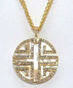Mother of Peal & Diamond Pendant