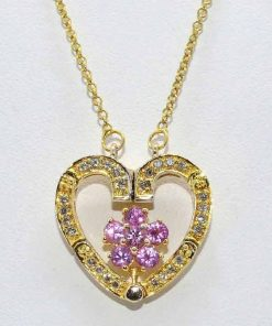 Pink Topaz & Diamond Heart & Flower Pendant