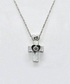 Diamond cross pendant and heart design
