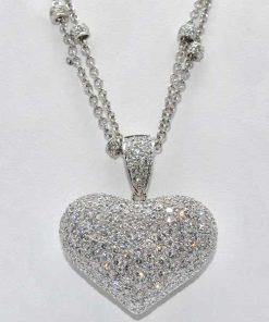 diamond pave heart pendant