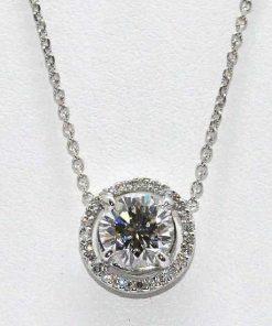 Diamond Solitaire Pendant with Halo