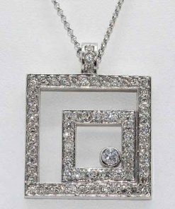 Double Square Diamond Pendant