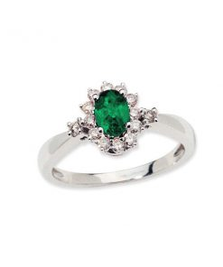 14k white gold emeral & diamond halo ring