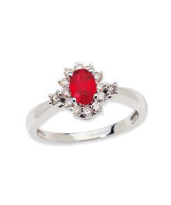 14k white gold ruby & diamond halo ring