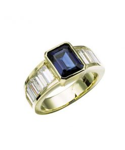 18k yellow gold baguette channel set ring