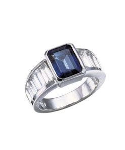 14k white gold sapphire & baguette ring