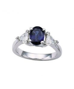 Platinum Trillion Setting Oval/Cut Sapphire Ring
