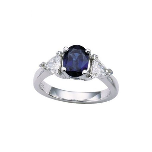 Platinum Trillion Setting Oval/Cut Sapphire Ring