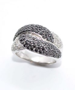 14k White Gold Black & White Diamond Ring