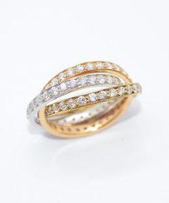 18k Tri-Color Diamond Ring