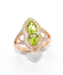 Diamond Fashion Ring with Pear Shaped Peridot Stones