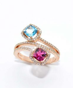 Fashion Ring with Blue Topaz and Tourmaline