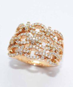 18k Pink Gold Diamond Fashion Ring