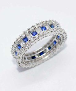 18k White Gold Diamond & Sapphire Band