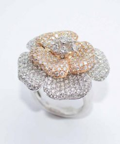 18k White Gold Diamond Fashion Flower Ring