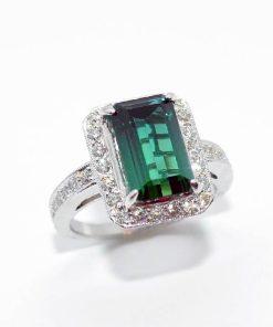 18k White Gold Diamond Tourmaline Ring