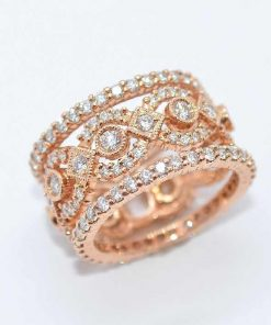 14k Pink Gold Stackable Diamond Bands