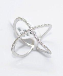 White Gold Diamond crisscross ring