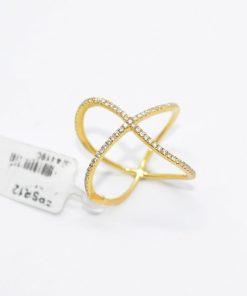 yellow Gold Diamond crisscross ring