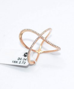 Diamond crisscross fashion ring