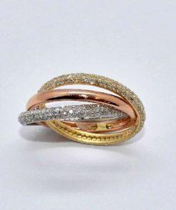 18k Tri-Color Gold Eternity Diamond Bands