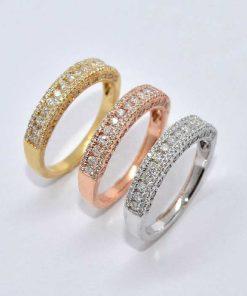 14k Tri-Color Gold Diamond Bands