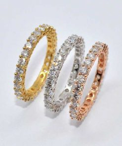 18k Tri-Color Gold Diamond Bands