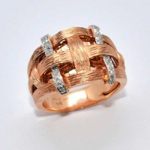 14k Pink Gold Diamond Fashion Ring