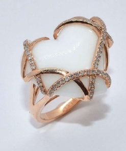 14k Pink Gold Diamond Fashion Ring