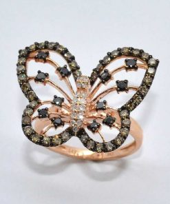Pink Gold Diamond Butterfly Fashion Ring