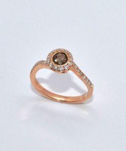 smokey topaz & diamond halo ring