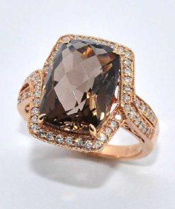 14k Pink Gold Topaz & Diamond Fashion Ring