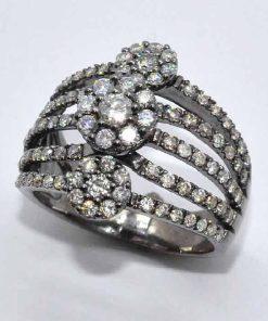 White Gold Diamond Fashion Cluster Ring