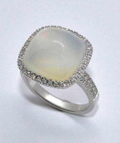 White Gold Moonstone Diamond Fashion Ring