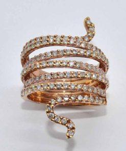 pink gold diamond snake ring
