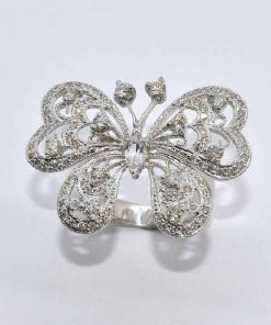 18k White Gold Diamond Butterfly Fashion Ring