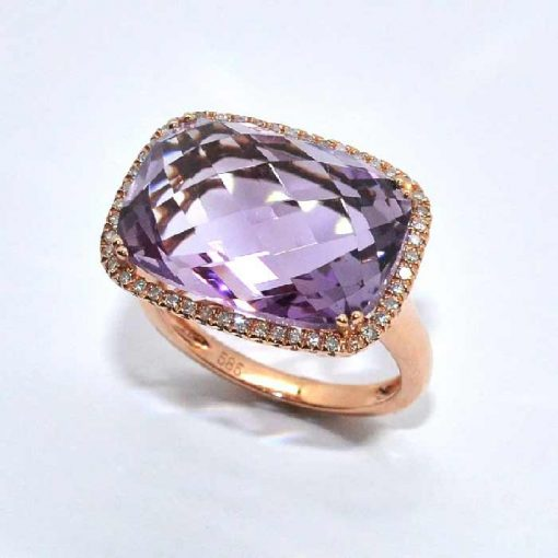 Pink Gold Amethyst & Diamond Fashion Ring