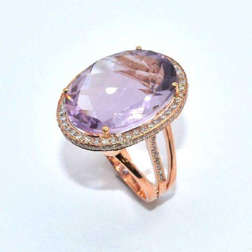 14k Pink Gold Diamond & Amethyst Fashion Ring