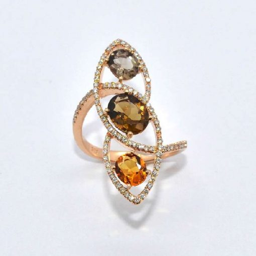 Pink Gold Diamond Fashion Ring with Citrine & Smokey Topaz