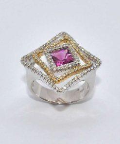 Two Tone Gold Diamond & Tourmaline Fashion Ring