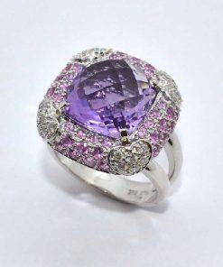 White Gold Diamond & Amethyst Fashion Ring