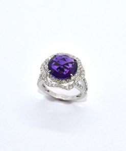 amethyst & diamond halo ring