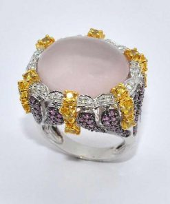White Gold Diamond Fashion Ring with Citrine & Pink Sapphires