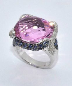Pink Topaz Fashion Ring with Sapphires & Diamonds