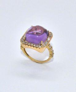 14k Yellow Gold Diamond Fashion Amethyst Ring