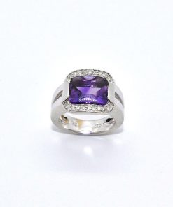 18k White Gold Diamond Fashion Amethyst Ring